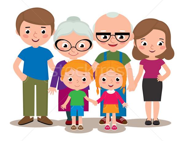 Rodziny grupy portret rodziców dziadkowie dzieci Zdjęcia stock © UrchenkoJulia