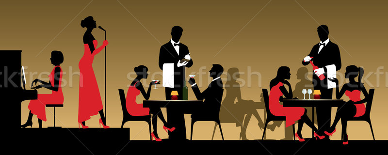 People in night club or restaurant sitting at a table Stock vect Stock photo © UrchenkoJulia