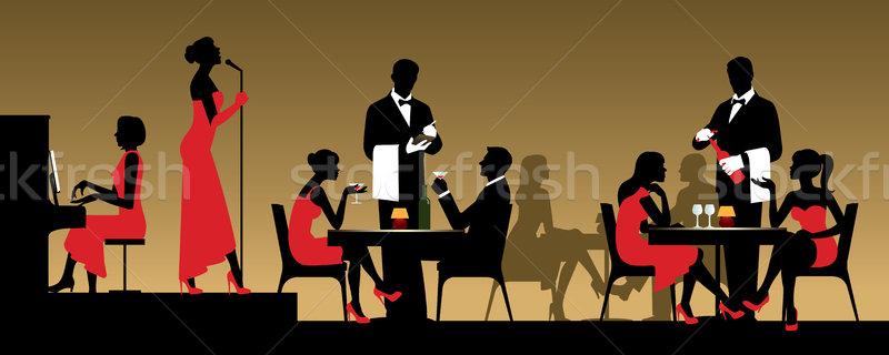 Mensen nachtclub restaurant vergadering tabel voorraad Stockfoto © UrchenkoJulia