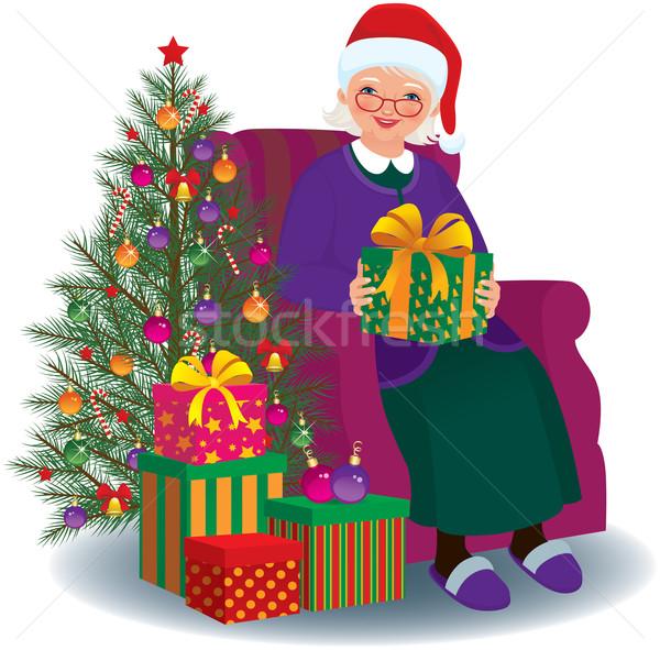 Karácsony ajándék szeretett nagyi idős nő ül Stock fotó © UrchenkoJulia