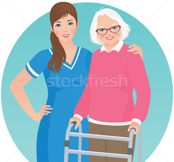 Stock photo: Elderly patient and a nurse