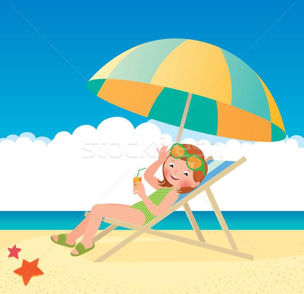 Dziewczyna słońce plaży czas wektora cartoon Zdjęcia stock © UrchenkoJulia