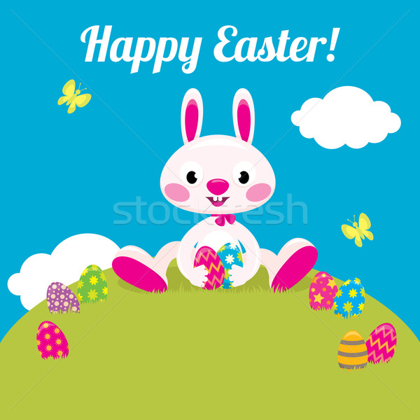 Easter bunny and Easter colored eggs Stock photo © UrchenkoJulia