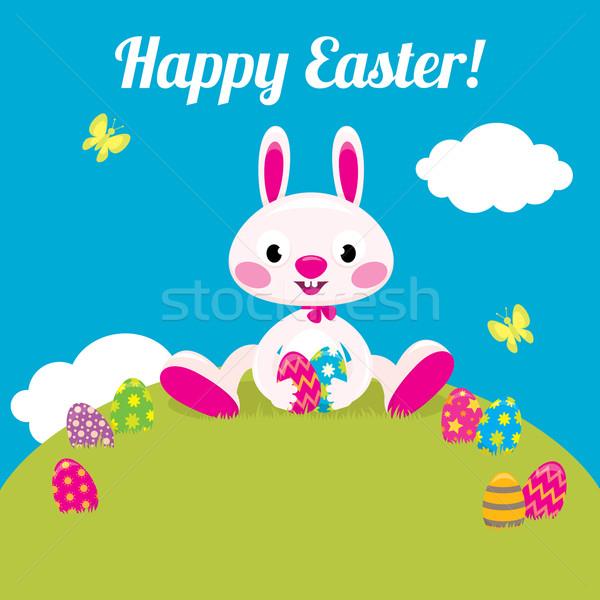 Easter Bunny Pasen gekleurde eieren voorraad vector cartoon Stockfoto © UrchenkoJulia