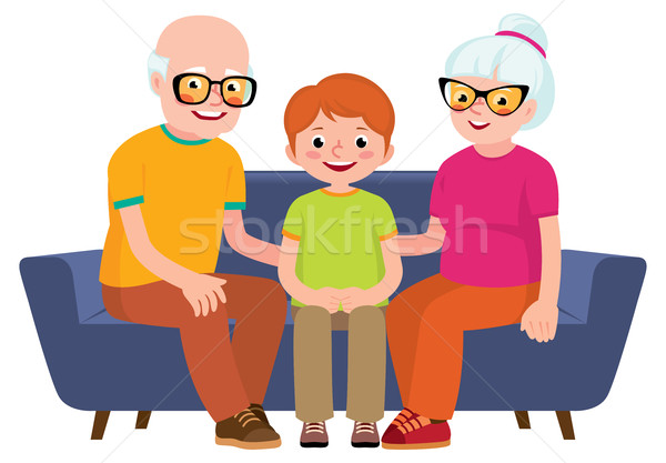 Family portrait of a grandmother, grandfather and grandson sitti Stock photo © UrchenkoJulia
