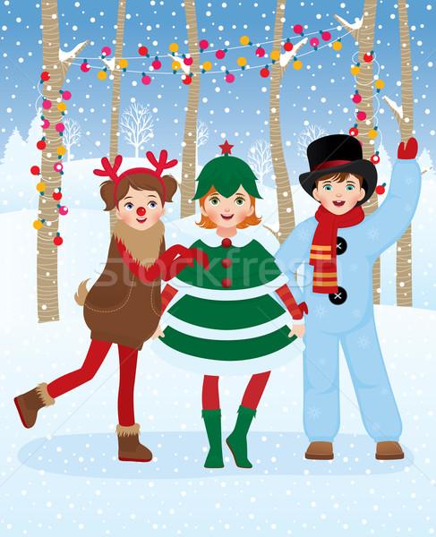 Dzieci christmas karnawałowe kostiumy zabawy odkryty Zdjęcia stock © UrchenkoJulia