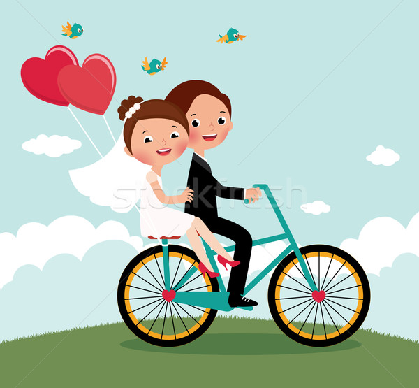 Newlyweds  bike Stock photo © UrchenkoJulia