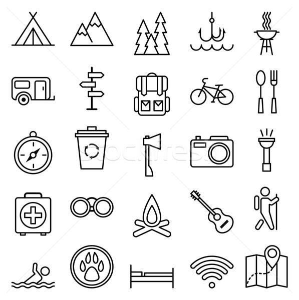 Big set linear icon camping and tourism Stock photo © UrchenkoJulia