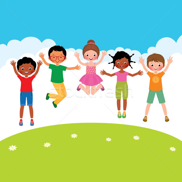 Group of happy jumping children of different nationalities Stock photo © UrchenkoJulia