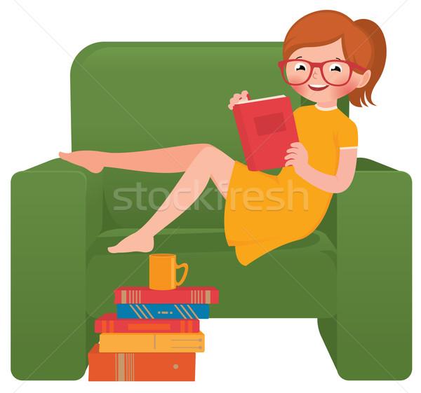 Kız okuma kitap oturma sandalye stok Stok fotoğraf © UrchenkoJulia