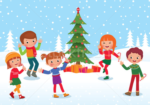 Dzieci świętować christmas nowy rok zimą wakacje Zdjęcia stock © UrchenkoJulia