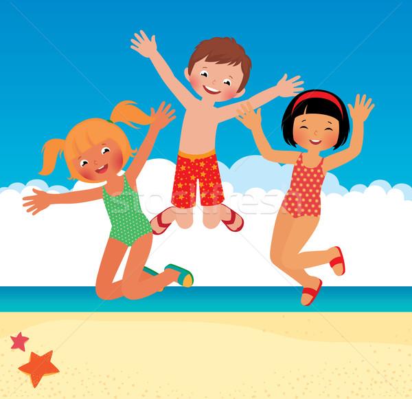 Funny dzieci plaży czas wektora cartoon Zdjęcia stock © UrchenkoJulia
