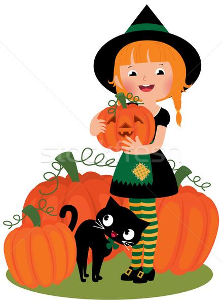 Halloween witch dziewczynka kostium biały Zdjęcia stock © UrchenkoJulia