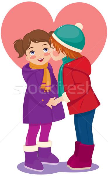 Dzieci miłości chłopca całując sympatia Zdjęcia stock © UrchenkoJulia