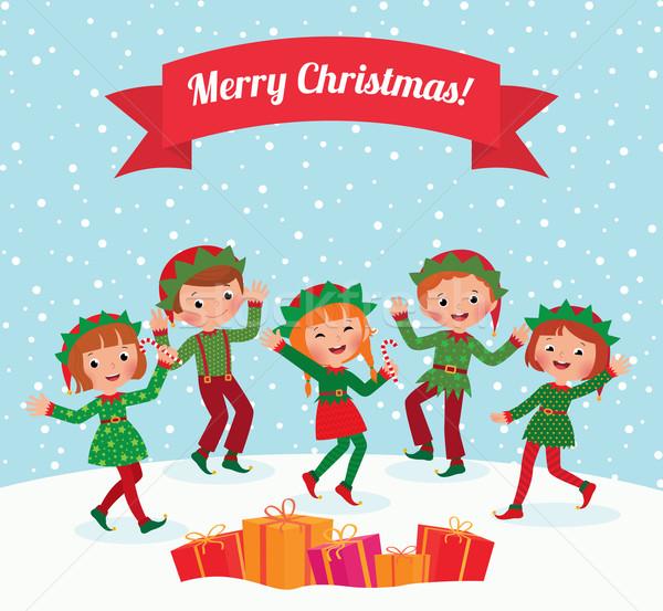 Foto stock: Alegre · Navidad · poco · ninos · elfo