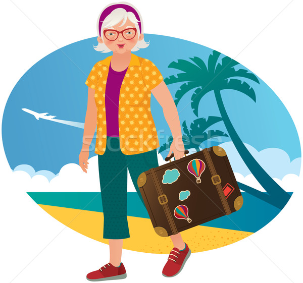 Yaşlı bayan aktif boş kadın plaj Stok fotoğraf © UrchenkoJulia