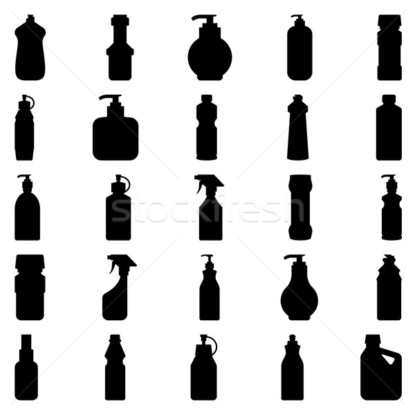 Set of silhouettes of containers and bottles household chemicals Stock photo © UrchenkoJulia