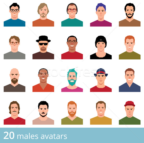 Large set of avatars attractive man on a white background vector Stock photo © UrchenkoJulia