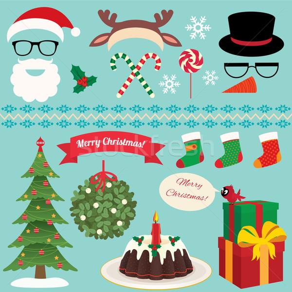 Christmas Set of celebratory symbols Stock photo © UrchenkoJulia