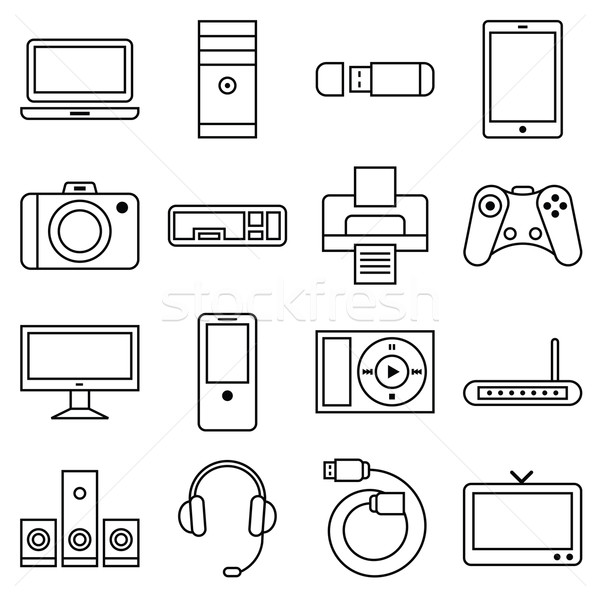 Set of linear icons computer and other equipment Stock photo © UrchenkoJulia