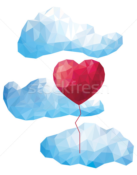 Vector heart balloon in the clouds in the style of a triangular low poly Stock photo © UrchenkoJulia
