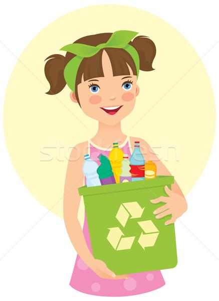 Little girl holding recycling bin Stock photo © UrchenkoJulia