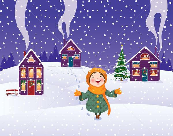 Dziewczyna śniegu christmas charakter dziecko zabawy Zdjęcia stock © UrchenkoJulia