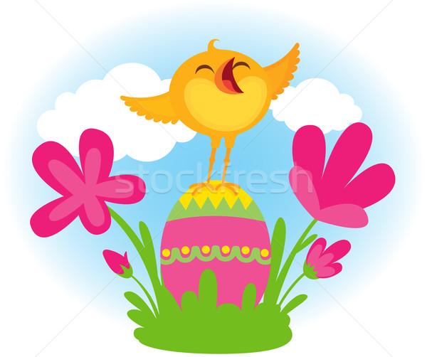 śpiewu Wielkanoc chick szczęśliwy śpiewać Zdjęcia stock © UrchenkoJulia