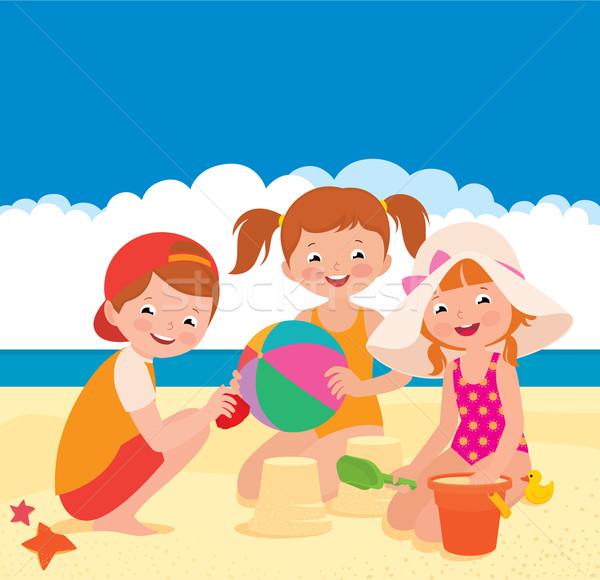 Tres amigos jugando playa stock vector Foto stock © UrchenkoJulia