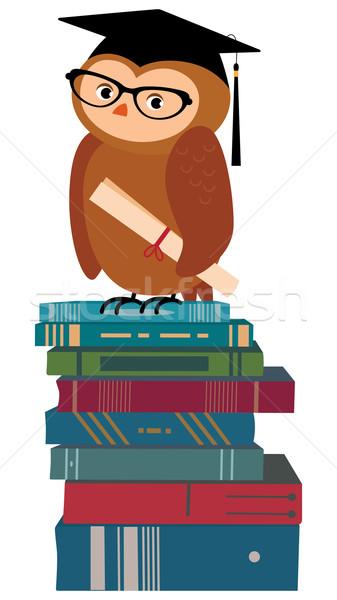 Judicieux chouette livres stock cartoon chapeau Photo stock © UrchenkoJulia