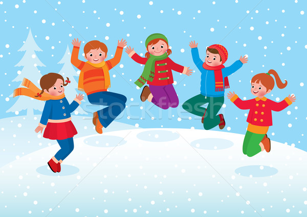 Group of kids playing in the winter outdoors Stock photo © UrchenkoJulia
