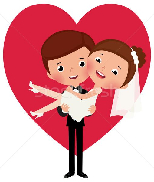Pan młody oblubienicy broni szczęśliwy ślub miłości Zdjęcia stock © UrchenkoJulia