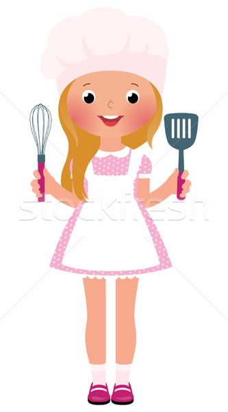 Glimlachend meisje chef voorraad kok glimlach Stockfoto © UrchenkoJulia