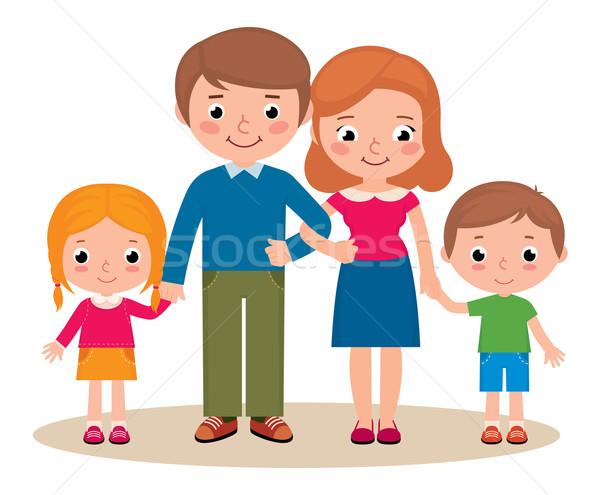 Portret rodzinny rodziców dzieci czas wektora cartoon Zdjęcia stock © UrchenkoJulia
