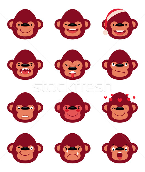 Set smiley monkey isolated on white Stock photo © UrchenkoJulia