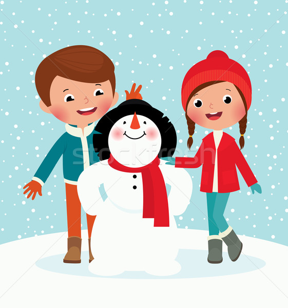 Zimą zabawy ilustracja dzieci gry odkryty Zdjęcia stock © UrchenkoJulia