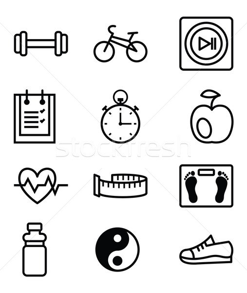 Fitness ingesteld vector iconen monochroom Stockfoto © UrchenkoJulia