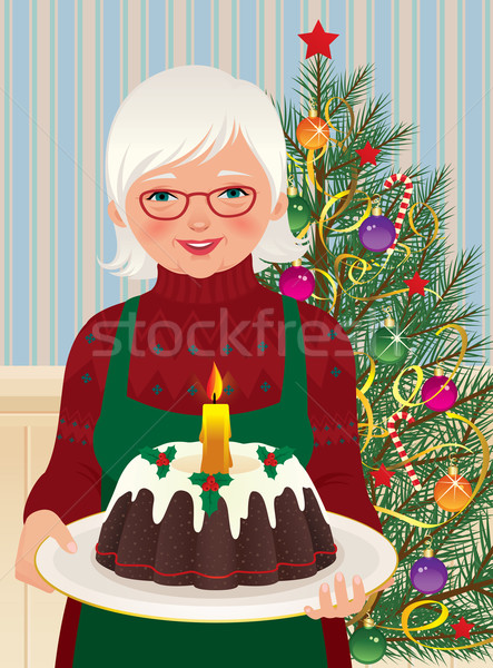 Grandmother and Christmas cake Stock photo © UrchenkoJulia