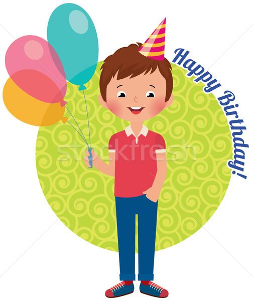 Verjaardag jongen voorraad lucht ballonnen vieren Stockfoto © UrchenkoJulia