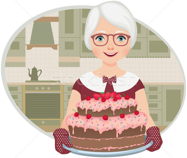 Grandmother baked a cake Stock photo © UrchenkoJulia