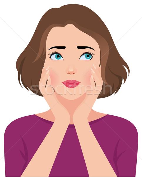 Portret zdenerwowany nieszczęśliwy młoda kobieta dziewczyna czas Zdjęcia stock © UrchenkoJulia