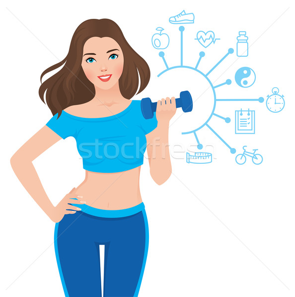 Beautiful slim girl and components of its success infographics Stock photo © UrchenkoJulia