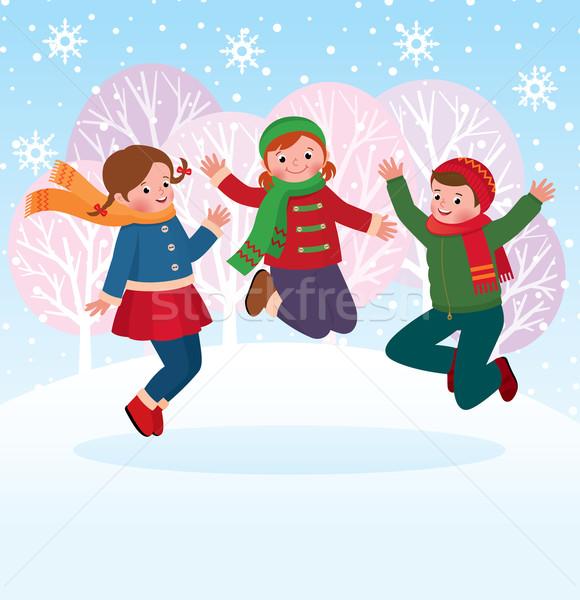 Grupy dzieci gry śniegu zimą czas Zdjęcia stock © UrchenkoJulia