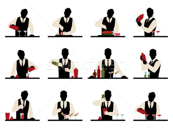 Zestaw sylwetki barman koktajle wektora czas Zdjęcia stock © UrchenkoJulia