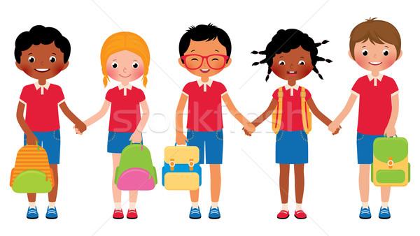 Group of children students in school uniforms Stock photo © UrchenkoJulia