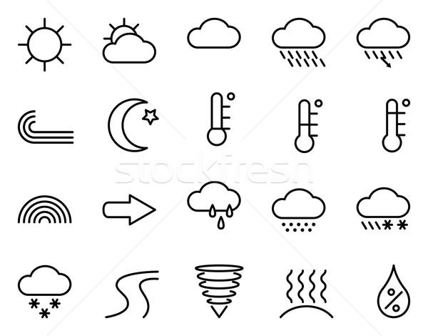 Ikon időjárás szett lineáris vektor ikonok Stock fotó © UrchenkoJulia