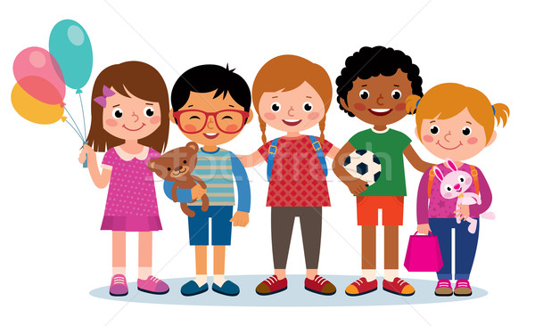 Group of happy children of different nationalities isolated on white background Stock photo © UrchenkoJulia