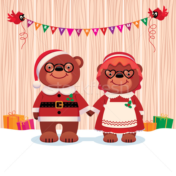 Married couple bear Santa Claus and his wife isolated on white background Stock photo © UrchenkoJulia