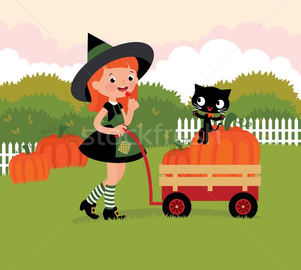 魔女 手押し車 カボチャ 女の子 子供 自然 ストックフォト © UrchenkoJulia