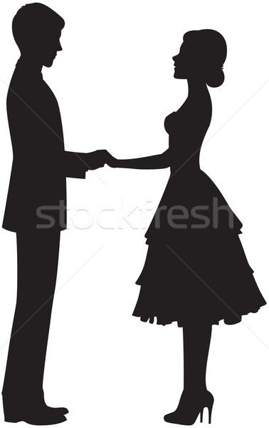Sylwetka para trzymając się za ręce wektora oblubienicy pan młody Zdjęcia stock © UrchenkoJulia
